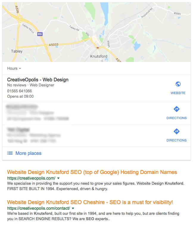 google my business knutsford website design SEO warrington northwich wilmslow macclesfield congleton holmes chapel altrincham lymm
